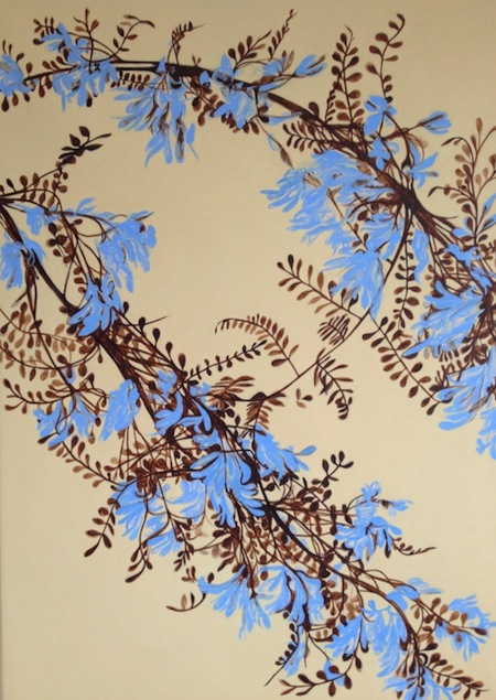 blue wisteria flower, oil painting by Julia Langley