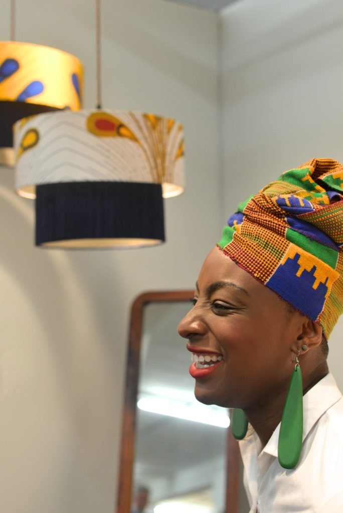 lampshaeds with african textiles, London
