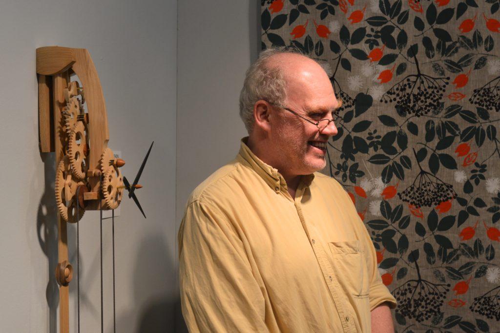 Wooden clocks at London design Fair