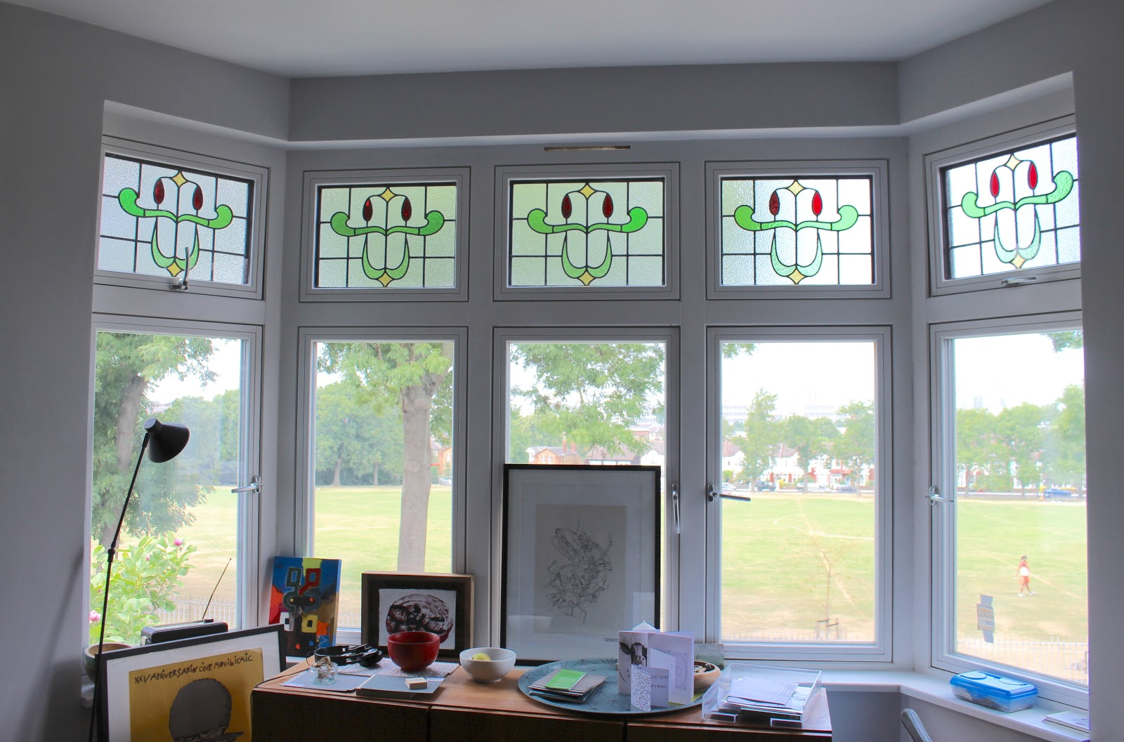 triple-glazed stained glass window