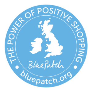 Blue Patch Power of Positive Shopping blue logo with map of UK and Ireland