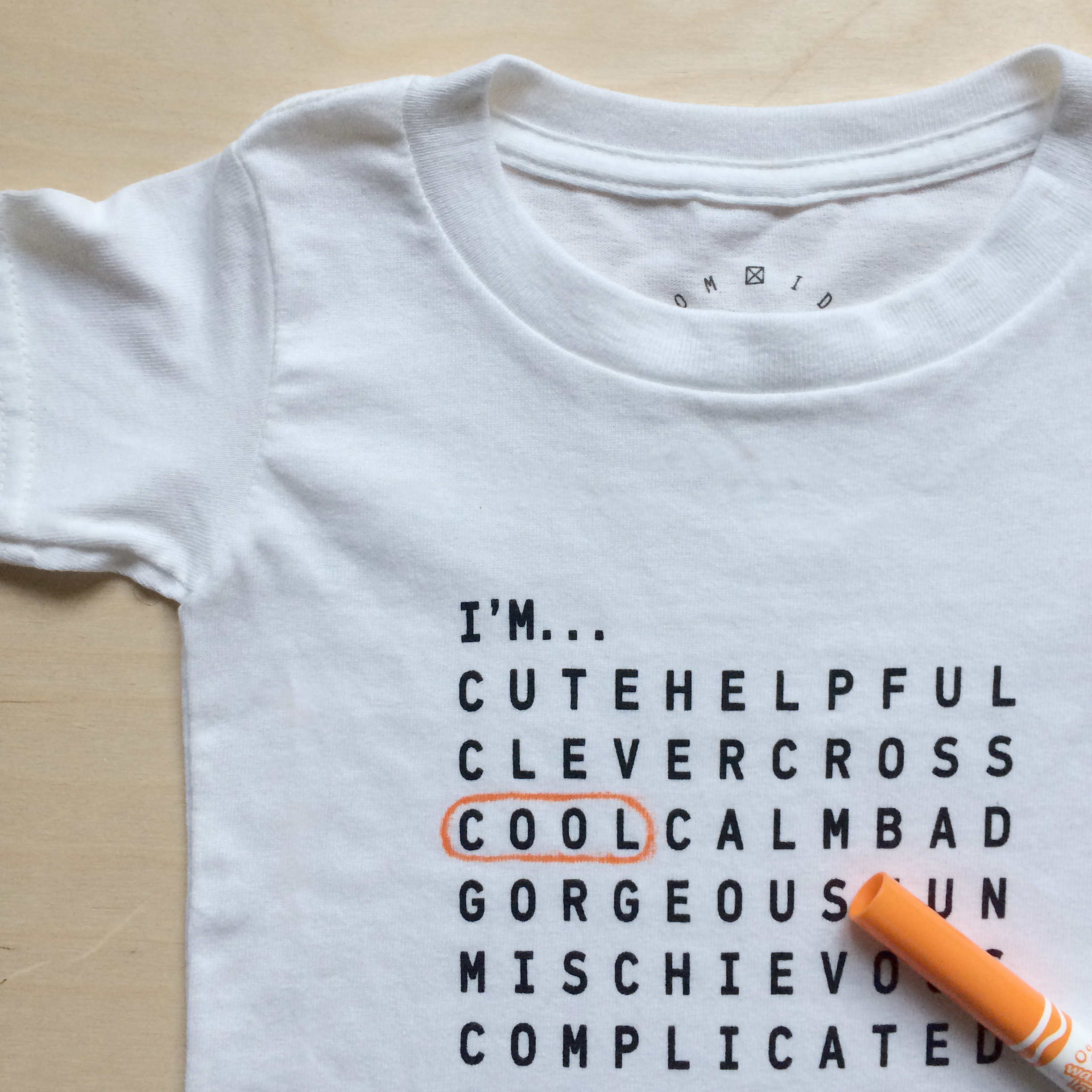 tee-shirt with wordsearch printed on it