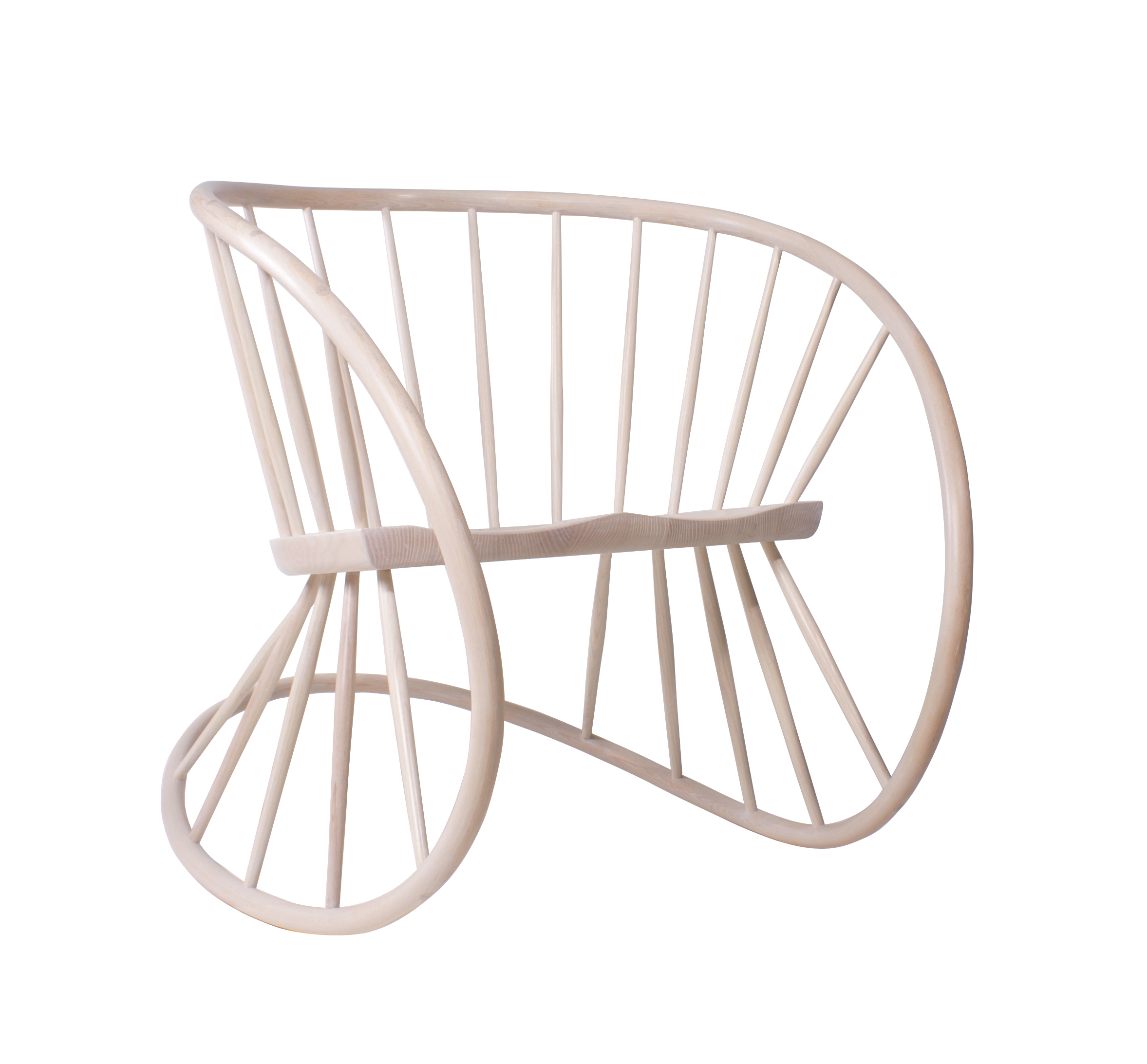 steam bent, curved, oak rocking chair on a white background