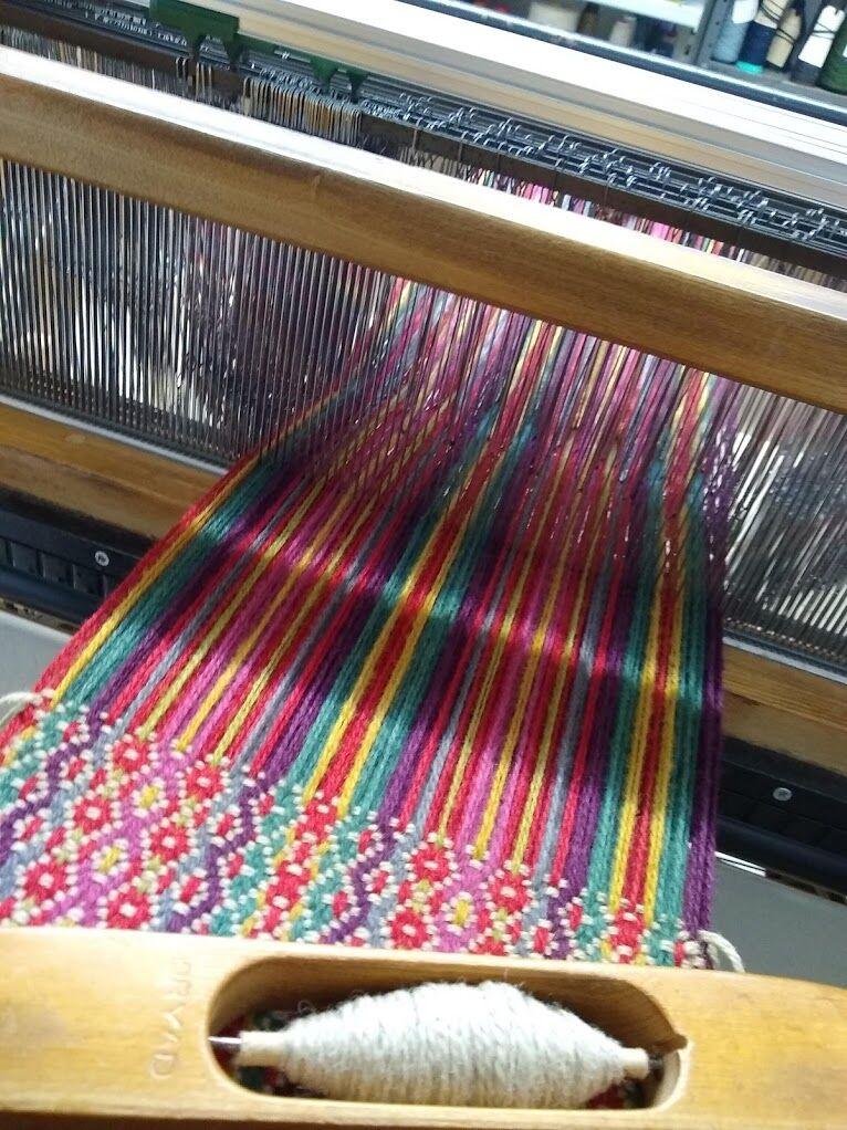 woolen threads strung onto a on a loom