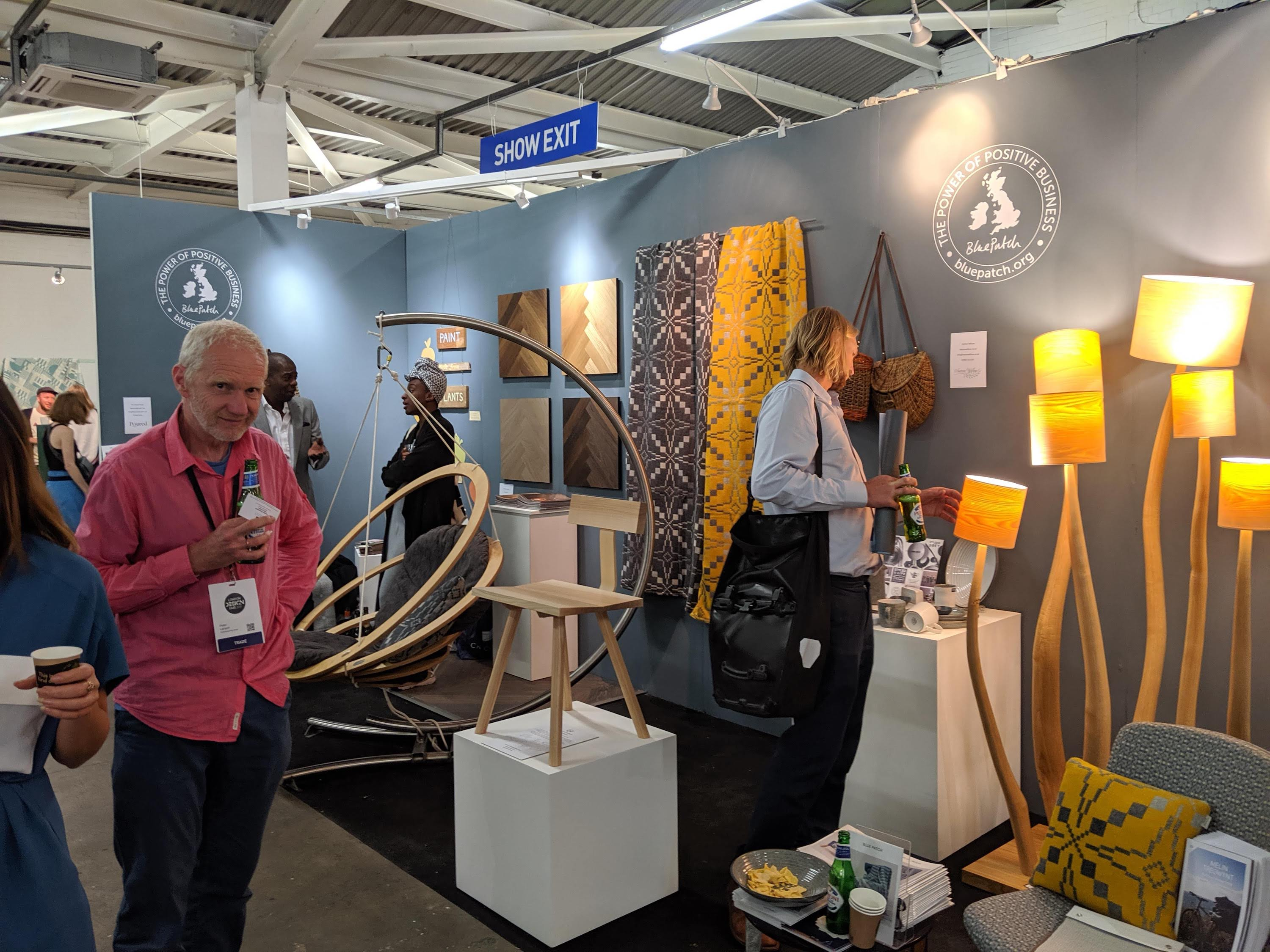 Opening party on the Blue Patch designer furniture stand, at London Design Fair 2019