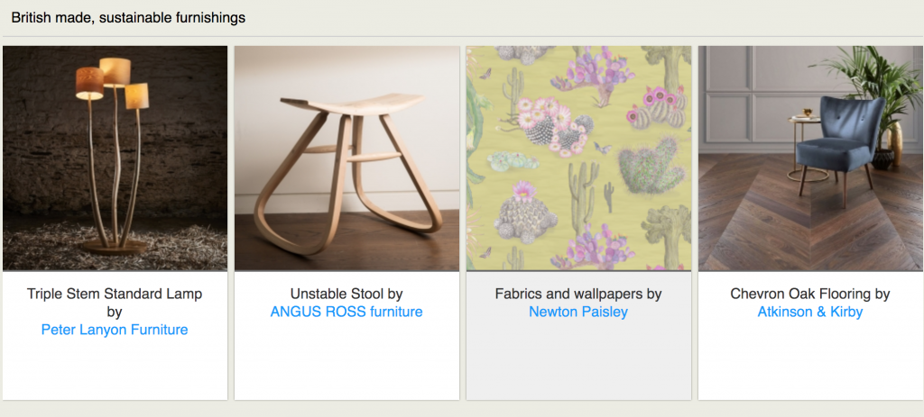 photo of the first Blue Patch website showing products, a lamp, stool, wallpaper and a chair on wooden floor