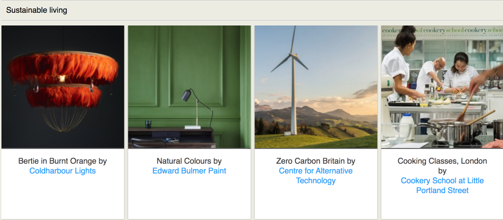 second photo of the original Blue Patch website showing an orange feather light, a green wall, a wind turbine and cookery school on an online directory