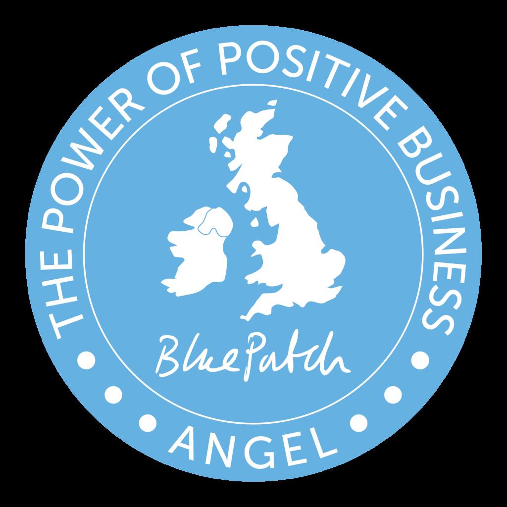 blue circular Blue patch Angel logo