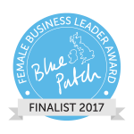 Blue award winner logo in a circle with map of UK and finalist sash across the bottom