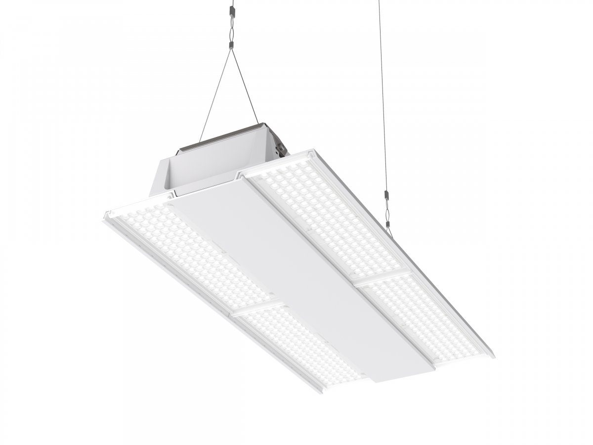 Suspended, long, flat light fitting for a sports hall in white.