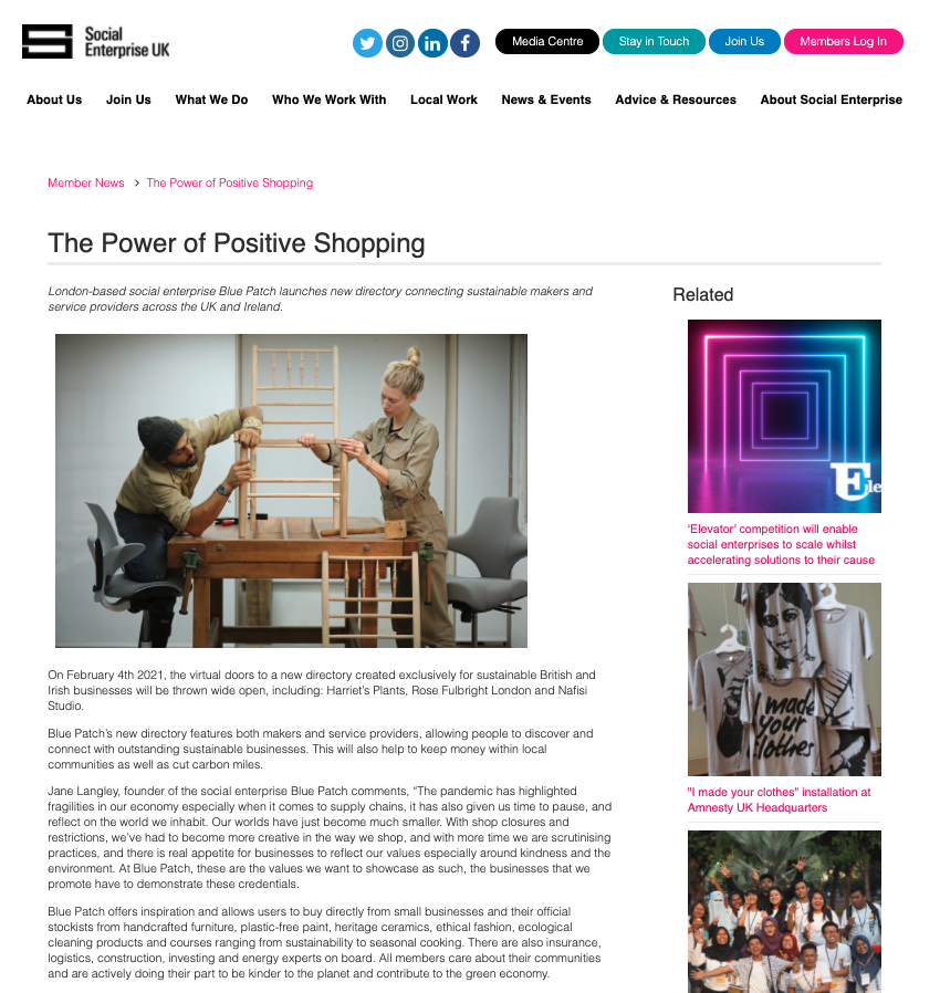 screen shot of a blog showing a man and woman making a chair, and a magazine article called The Power of Positive Shopping
