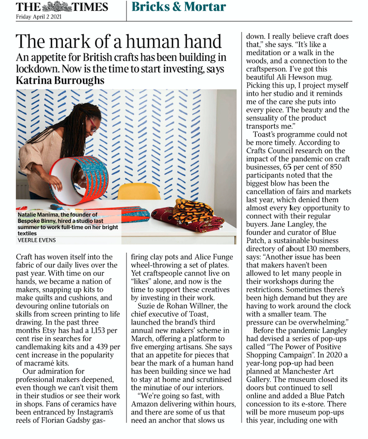 Article in the Times on Friday April 2r, 2020 on handcrafters during the pandemic