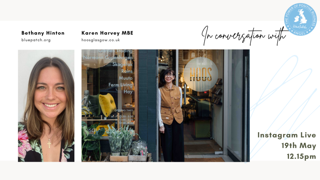 instagram cover showing Bethany the interviewer and Blue Patch intern and Karen harvey, the owner of Hoos, standing outside her shop